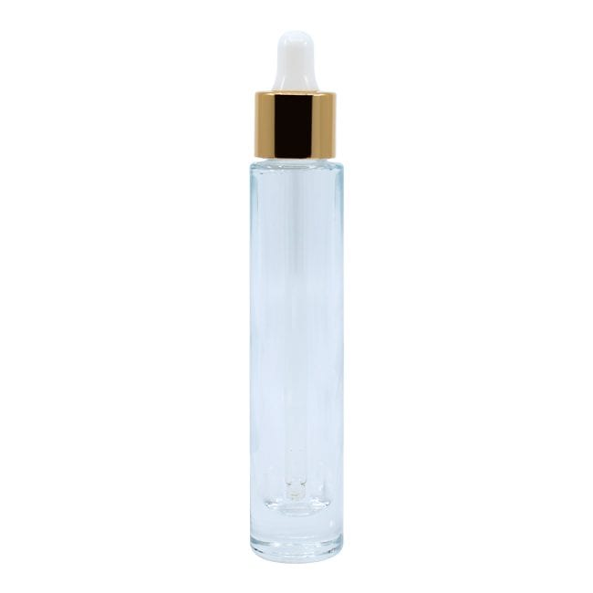 Clear Glass Bottle with Gold Dropper l KGAD013 l APC Packaging
